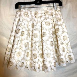 Lilly Pulitzer Harlie White Gold Floral Skirt SZ 0
